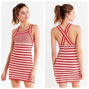 NWT UO Maura Red & White Striped Crochet Dress